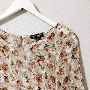 Floral Boho Blouse with Cutout Back Detail